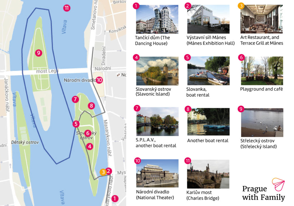 Prague with Family boat map